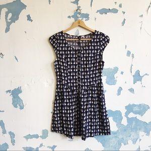 H&M Navy Cat Print Button Front Mini Shirt Dress